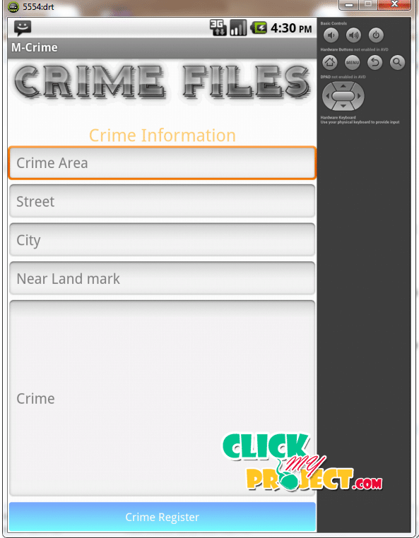 E-Crime file management application for android