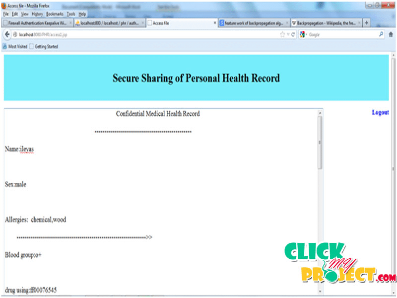 Scalable secure sharing Personal Health Record using Attribute Based Encryption| 2014 Projects