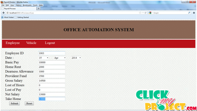 Office automation system (Application) | 2014 Projects