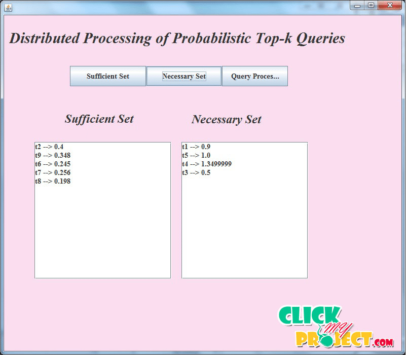 Distributed Processing of Probabilistic Top-kQueries in Wireless Sensor Networks | 2014 Projects