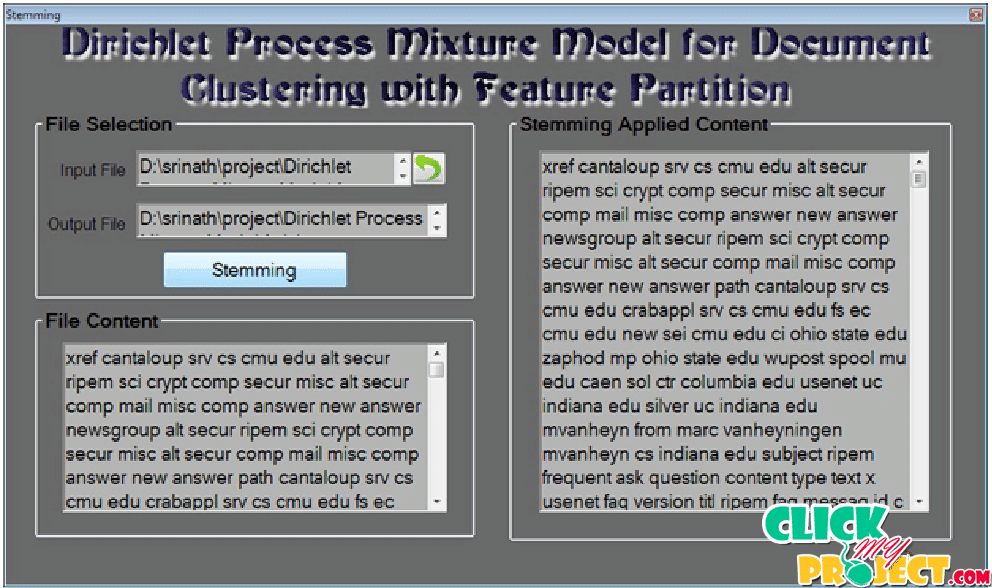 Dirichlet Process Mixture Model for Document Clustering with Feature Partition| 2014 Projects