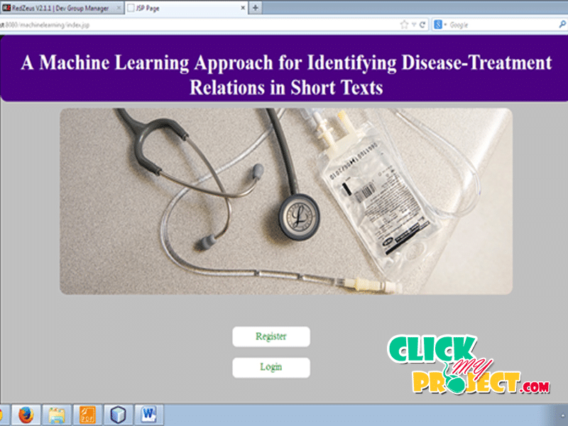 A Machine Learning Approach for Identifying Disease-Treatment Relations in Short Texts | 2014 Projects