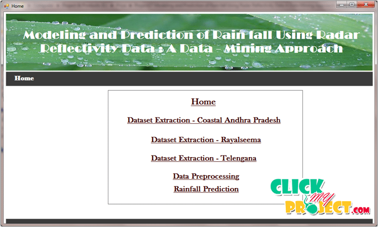 Modeling and Prediction of Rain fall Using Radar Reflectivity Data A Data Mining Approach | 2015 Projects