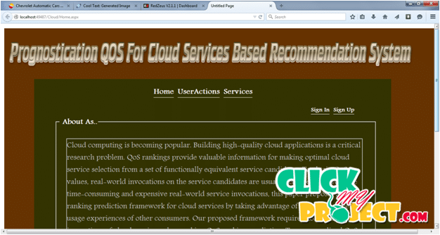 QoS Ranking Prediction for Cloud Services | 2015 Projects