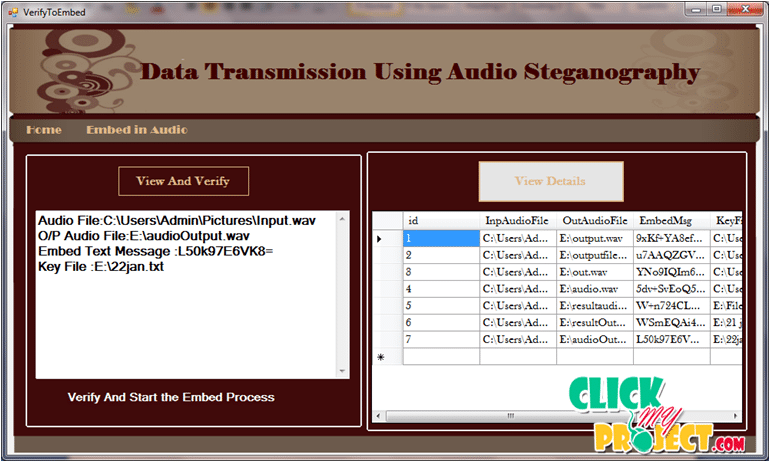 DATA TRANSMISSION USING AUDIO STEGANOGRAPHY | 2015 Projects
