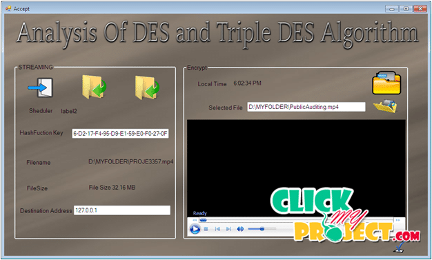 Evaluation Performance Of DES And Tripple DES Algorithm | 2015 Projects