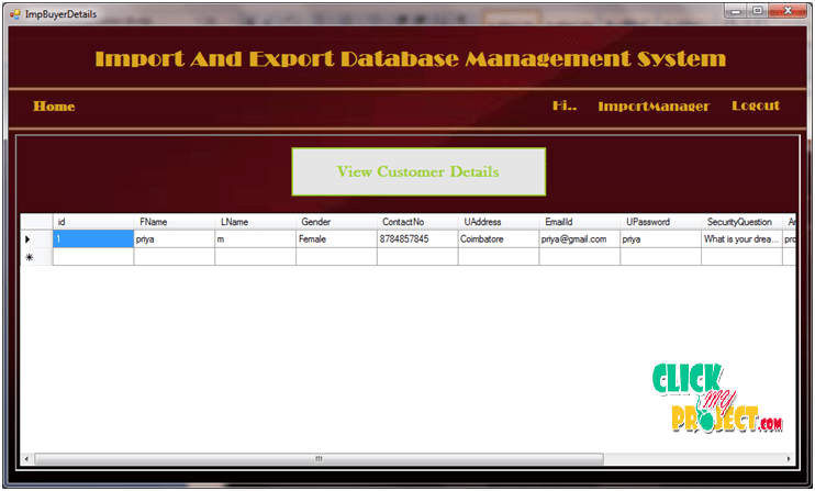 Import and Export database management system | 2015 Projects